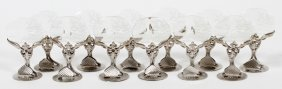 Silver Plate & Crystal Place Card Holders