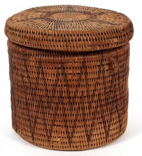 Native American Woven Covered Basket