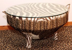 Zebra Skin Round Coffee Table Glass Top