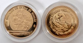 Mexican Gold Paso Proof Coins 1986 2 Pieces