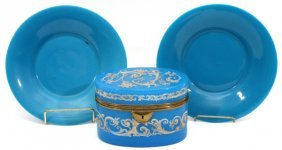 Blue Opaline Glass Box & Plates 19th C. 3 Pieces