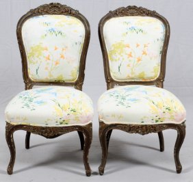 French Carved Walnut Side Chairs Pair