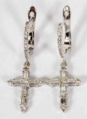 1.76ct Diamond & 14kt White Gold Cross Earrings