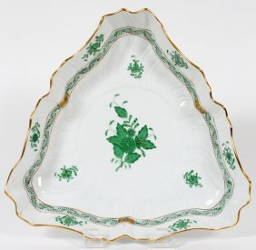Herend 'chinese Bouquet-green' Porcelain Bowl