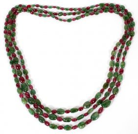 700ct Natural Ruby & Emerald Bead Necklaces, Three