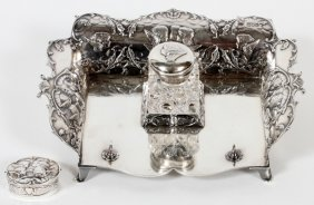 Victorian Sterling & Crystal Inkstand & Snuff Box