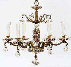 German Six-light Porcelain Chandelier