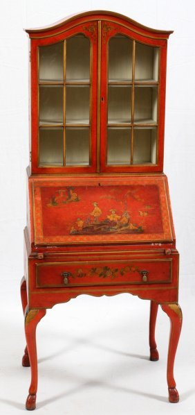 Chinoiserie Painted Wood Drop-front Secretary