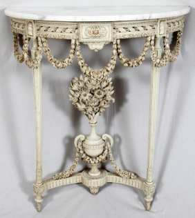 LOUIS XVI STYLE CONSOLE W/ MARBLE TOP