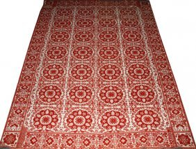 American Red & White Jacquard Coverlet