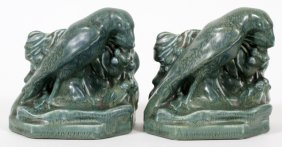 Rookwood Pottery 'rook' Bookends 1929 Pair