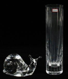 Baccarat Crystal Snail & Fluted Vase
