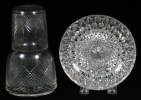 Cut Glass Tumble Up & Hawkes Bowl