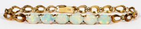 14kt Yellow Gold & 6ct Opal Link Bracelet