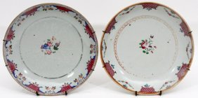 Chinese Export Porcelain Plates 18th C. Two