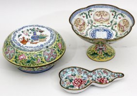 Chinese Painted Enamel Grouping Three Pieces