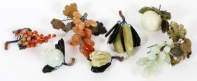 Chinese Agate & Serpentine Fruit Seven Pieces