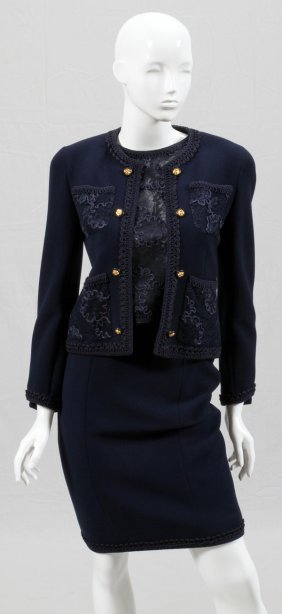 Chanel Boutique Wool, Silk & Lace Skirt Suit