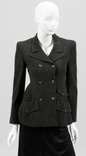 Chanel Boutique Wool Blend Check Jacket
