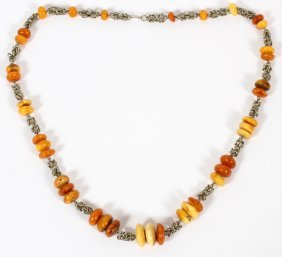 Sterling Silver & Amber Bead Necklace