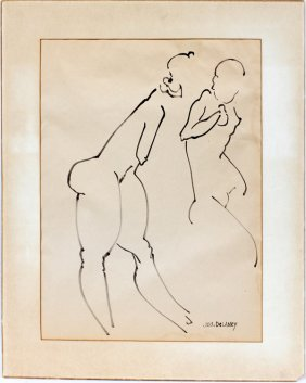 Joseph Delaney Black Marker Two Nude Females
