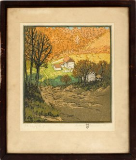 Gustave Baumann Color Woodcut 1915