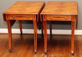 John Widdicomb Fruitwood Drop Leaf Pembroke Tables