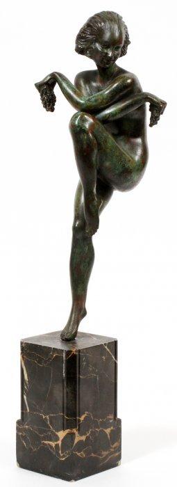 Raymonde Guerbe Art Deco Bronze & Marble Figure