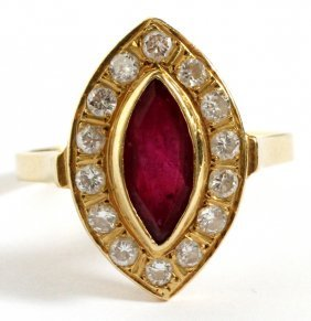 Yellow Gold, Ruby & .57 Ct Diamond Ring Size 8