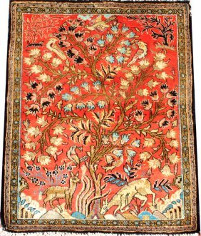 Kashan Tree Of Life Silk Pictorial Rug