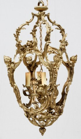 French Bronze Four Light Chandelier