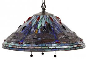 Hanging Leaded Glass Dragonfly Shade