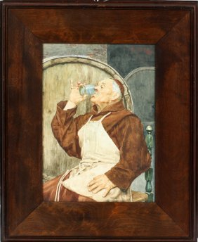 S Dacosta Watercolor Monk Tasting Wine