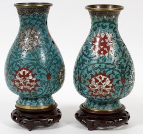 Chinese Cloisonne Vases 19th C. Signed Pair