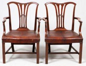 Watson & Boaler Mahogany Open Arm Chairs Pair