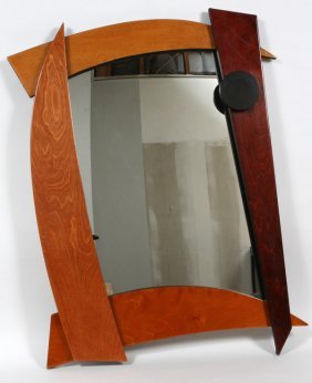 American Mid 20th C. Mixed Wood Mirror