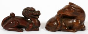 Japanese Wood Netsukes 19th C. Two