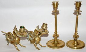 Brass Candlesticks Early 20th Century Four