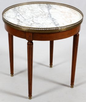 Italian Walnut Marble Top Table