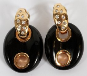 .50ct Diamond 18kt Gold And Onyx Earrings Pair