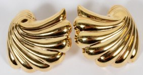 14kt Yellow Gold Shell Earrings, Pair