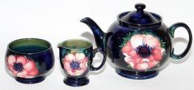Moorcroft Anemone Pottery Teapot Creamer & Sugar