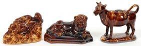Bennington Pottery Figures & Inkwell 3 Pieces