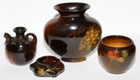 Weller 'louwelsa' Pottery Vases & Bowl Four Pieces