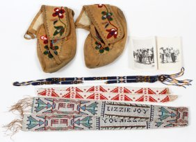 Indian Beadwork Moccasins Belts 5 Pcs.