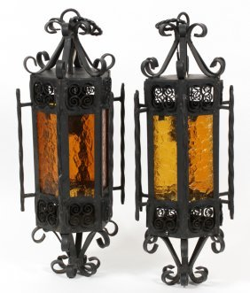 Single-light Wrought Iron Entry Lights Pair
