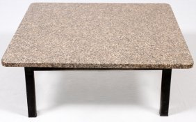 Industrial Style Metal And Granite Coffee Table