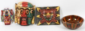 Columbian Style Wood Masks, Plaque And Carved Bowl