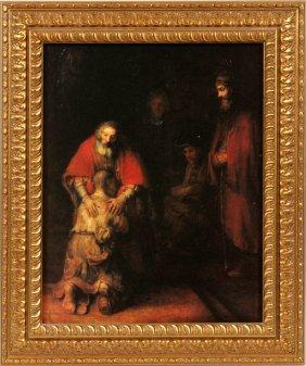 After Rembrandt Van Rijn Lithograph On Canvas Board