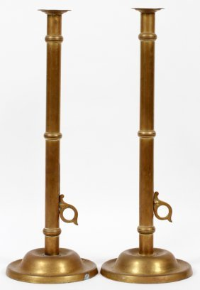 American 19th.c. Brass Candleholders W/ Sliders